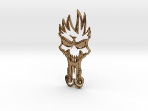 skull Keychain in Natural Brass