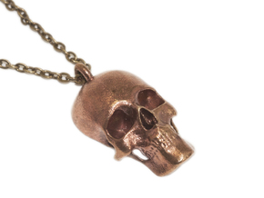 Human skull pendant - 30 mm in Natural Bronze