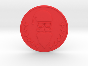 Santa Coaster in Red Processed Versatile Plastic