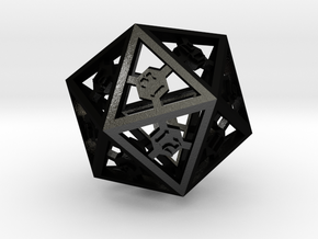 D20 Epoxy Dice Spindown version in Matte Black Steel