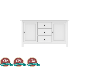 Miniature HEMNES Sideboard - IKEA in White Natural Versatile Plastic: 1:24