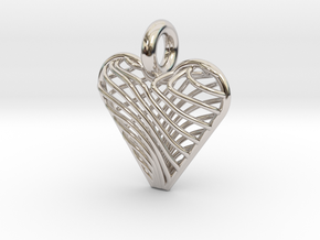 Swirling Heart Pendant in Rhodium Plated Brass
