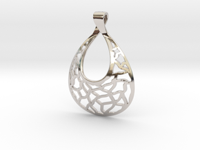 Mosaic Pendant in Rhodium Plated Brass
