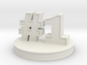 number 1 ( #1 ) miniature in White Natural Versatile Plastic