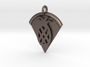 Pineapple Pizza Pendant in Polished Bronzed Silver Steel