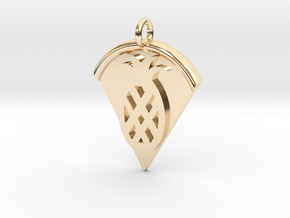 Pineapple Pizza Pendant in 14k Gold Plated Brass