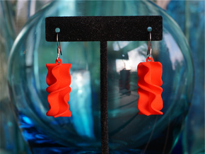 Sinusoidal Rotini Earrings in Red Processed Versatile Plastic