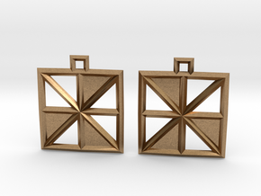 Square Alcove Earrings in Natural Brass