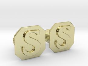 Monogram Cufflinks S in 18k Gold Plated Brass