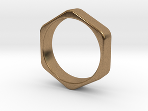 Hex Nut Ring - Size 10 in Natural Brass