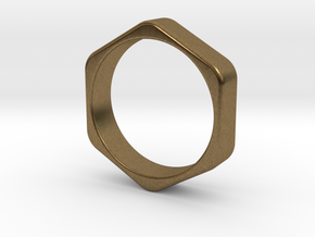 Hex Nut Ring - Size 10 in Natural Bronze
