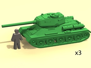 6mm T-34-85 tank (3 pieces) in Smoothest Fine Detail Plastic