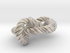 Miller institute knot (Rope with detail) in Rhodium Plated Brass: Medium