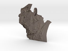 Wisconsin Landforms Map Pendant in Polished Bronzed Silver Steel