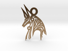 Anubis - Amulet - Abstract in Natural Brass