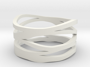 Strands Ring in White Natural Versatile Plastic
