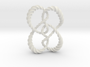 Symmetrical knot (Twisted square) in White Natural Versatile Plastic: Extra Small
