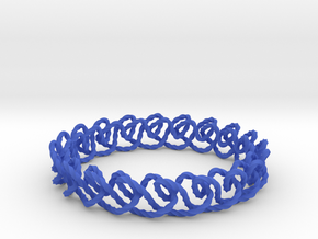 Chain stitch knot bracelet (Twisted square) in Blue Processed Versatile Plastic: Medium