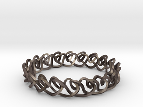 Chain stitch knot bracelet (Square) in Polished Bronzed Silver Steel: Extra Small