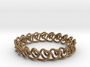 Chain stitch knot bracelet (Circle) in Natural Brass: Extra Small