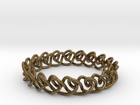 Chain stitch knot bracelet (Circle) in Natural Bronze: Extra Small