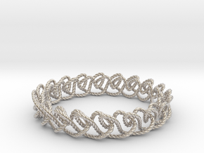 Chain stitch knot bracelet (Rope) in Rhodium Plated Brass: Extra Small