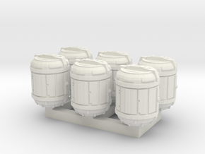 1/87 Scale Bio Medical Containers x6 in White Natural Versatile Plastic
