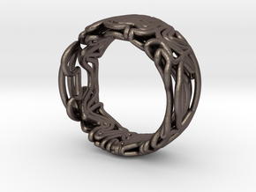 spaghetti_ring_23mm in Polished Bronzed Silver Steel