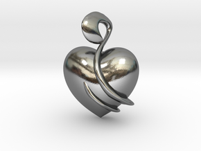 Heart Amulet Abstract in Polished Silver