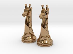 Pair Chess Giraffe Big / Timur Giraffe Zarafah in Polished Brass
