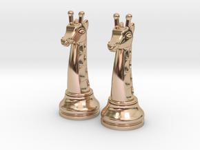 Pair Chess Giraffe Big / Timur Giraffe Zarafah in 14k Rose Gold Plated Brass