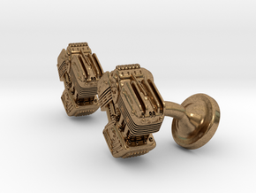 V Twin Engine Cufflinks in Natural Brass