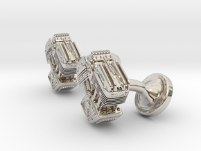 V Twin Engine Cufflinks in Rhodium Plated Brass