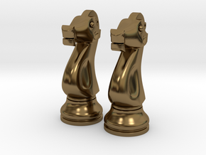 "Pair Knight Chess Big - Timur Knight ""Asp"" in Polished Bronze"