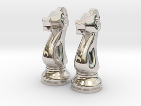 "Pair Knight Chess Big - Timur Knight ""Asp"" in Rhodium Plated Brass"