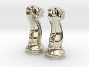 Pair Chess Camel Big / Timur Jamal  in 14k White Gold