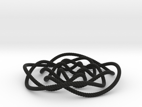Rose knot 4/5 (Rope with detail) in Black Natural Versatile Plastic: Large