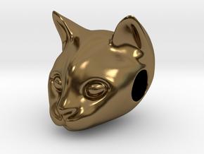 Cat Lover Friendship Bracelet Charm - Smiley Cat in Polished Bronze