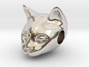 Cat Lover Friendship Bracelet Charm - Smiley Cat in Rhodium Plated Brass