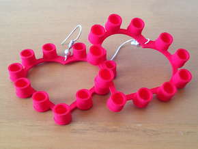 Pop Cap Heart Earrings (Large) in Red Processed Versatile Plastic