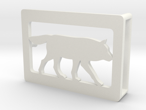 Belt Buckle - Wolf - M1FE in White Natural Versatile Plastic