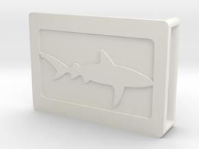 Belt Buckle - Shark - M1FF in White Natural Versatile Plastic