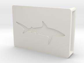 Belt Buckle - Shark - M1SF in White Natural Versatile Plastic