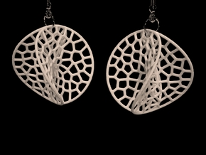 Enneper Voronoi Dream Earrings (3 sizes) in White Natural Versatile Plastic: Small
