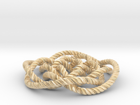 Rose knot 4/5 (Rope with detail) in 14k Gold Plated Brass: Medium