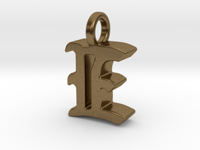 E - Pendant - 3 mm thk. in Natural Bronze