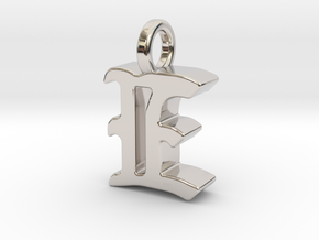 E - Pendant - 3 mm thk. in Rhodium Plated Brass