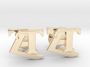 Monogram Cufflinks ZT in 14k Gold Plated Brass