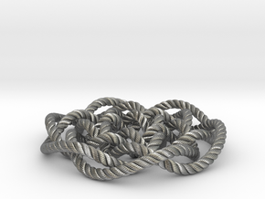 Rose knot 6/5 (Rope with detail) in Natural Silver: Medium