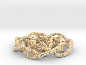 Rose knot 6/5 (Rope with detail) in 14k Gold Plated Brass: Medium